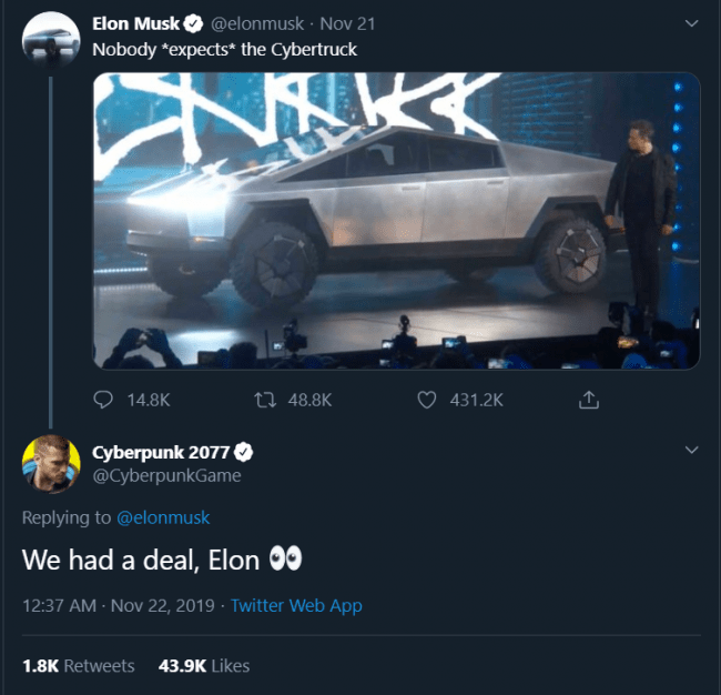 Elon Musk Cybertruck has on-going things with Cyberpunk 2077. – Gamers Navy